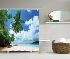 Ada ve Gökyüzü Manzaralı Duş Perdesi Palmiye Kumsal