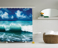 Okyanus Dalgaları Temalı Duş Perdesi Turkuaz Gökyüzü