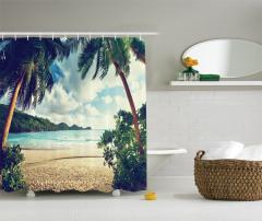 Egzotik Kumsal ve Bulut Temalı Duş Perdesi Deniz