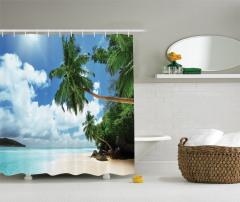Egzotik Kumsal Manzaralı Duş Perdesi Palmiyeli