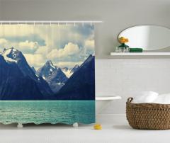 Karlı Dağlar Manzaralı Duş Perdesi Doğada Huzur