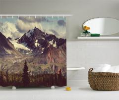 Karlı Dağlar Manzaralı Duş Perdesi Kış Temalı Bulut
