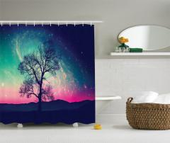 Uzay Temalı Duş Perdesi Ağaç ve Rengarenk Gökyüzü