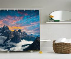 Dağ ve Gökyüzü Manzaralı Duş Perdesi Bulutlar