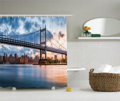 New York Manzaralı Duş Perdesi Köprü ve Gökyüzü