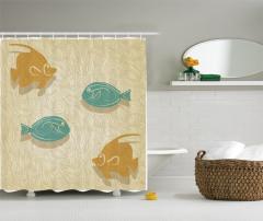 Rengarenk Balık Desenli Duş Perdesi Okyanus Temalı