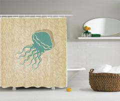 Denizanası Desenli Duş Perdesi Deniz Temalı Su Altı