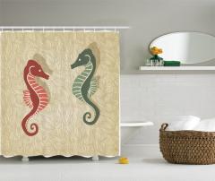 Kırmızı ve Yeşil Denizatı Desenli Duş Perdesi Deniz