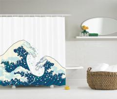 Geleneksel Japon Çizimli Duş Perdesi Dalgalar