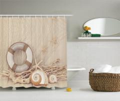 Deniz Kabuğu Desenli Duş Perdesi Can Simidi Sepya