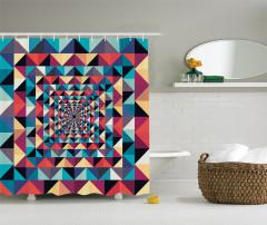 Geometrik Retro Desenli Duş Perdesi Rengarenk
