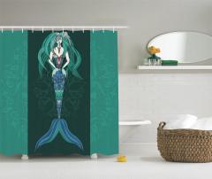 Deniz Kızı Desenli Duş Perdesi Mavi Yeşil Siyah Fon
