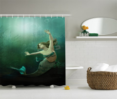 Yeşil Deniz Kızı Desenli Duş Perdesi 3D Etkili