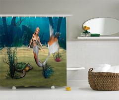 Deniz Kızı ve Kaplumbağa Desenli Duş Perdesi 3D