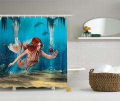 Çiçekli Deniz Kızı Desenli Duş Perdesi Mavi 3D