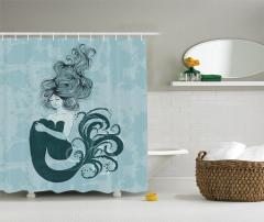 Uyuyan Deniz Kızı Desenli Duş Perdesi Masal Temalı