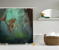 Deniz Kızı ve Denizatı Desenli Duş Perdesi Yeşil