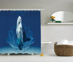 Peri Masalı Temalı Duş Perdesi Deniz Kızı Desenli
