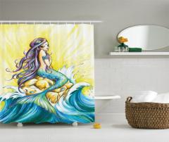 Dalga ve Deniz Kızı Desenli Duş Perdesi Mavi Sarı