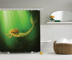 Yüzen Deniz Kızı Desenli Duş Perdesi Yeşil Fantastik