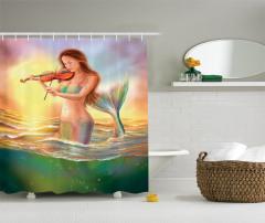 Keman Çalan Deniz Kızı Desenli Duş Perdesi Fantastik