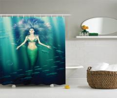 Mor Saçlı Deniz Kızı Desenli Duş Perdesi Balıklı