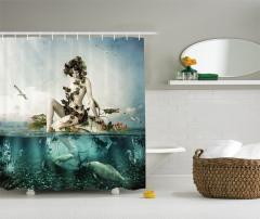 Deniz Kızı ve Kuş Desenli Duş Perdesi Balıklar