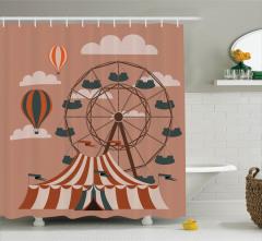 Sirk ve Dönme Dolap Desenli Duş Perdesi Çocuk İçin