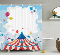 Sirk ve Uçan Balonlar Desenli Duş Perdesi Sevimli