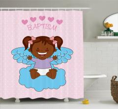 Melek Kız Bebek ve Bulut Duş Perdesi Vaftiz Temalı