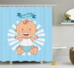 Gülümseyen Erkek Bebek Desenli Duş Perdesi Vaftiz