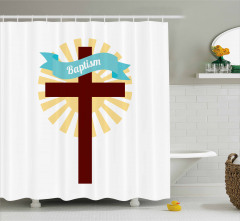 Kutsal Haç ve Vaftiz Desenli Duş Perdesi Beyaz Sarı