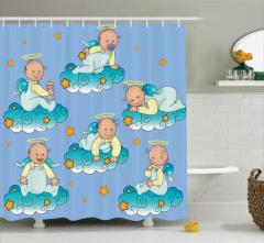 Bulutlarda Oynayan Tatlı Bebek Melekler Duş Perdesi
