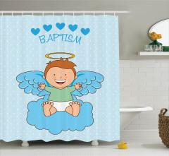 Melek Bebek ve Bulut Desenli Duş Perdesi Vaftiz