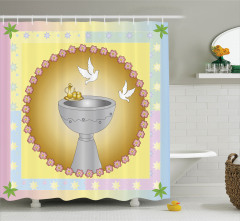 Vaftiz Havuzu ve Güvercinler Desenli Duş Perdesi