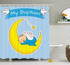 Ayın Üzerinde Bebek Desenli Duş Perdesi Vaftiz