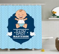 Erkek Bebek Vaftiz Töreni Temalı Duş Perdesi Mavi