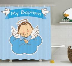 Çocuk Melek ve Bulut Desenli Duş Perdesi Mavi