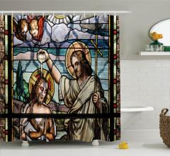 İsa ve Aziz John Vitrayı Desenli Duş Perdesi