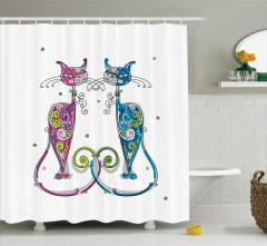 Kedili Duş Perdesi Çiçek Süslemeleri Mavi Pembe