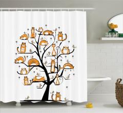Ağaçtaki Kediler Desenli Duş Perdesi Turuncu Beyaz