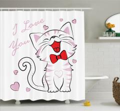 Kedi Severler için Duş Perdesi Pembe Beyaz Sevgi