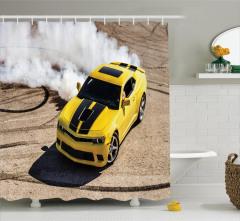 Sarı Yarış Arabası Temalı Duş Perdesi Motor Sporları
