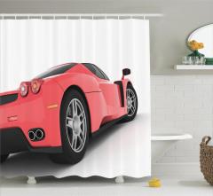 Kırmızı Yarış Arabası Temalı Duş Perdesi Spor