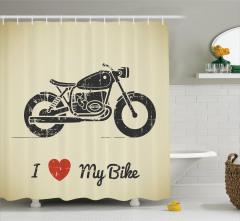 Motosikletimi Seviyorum  Duş Perdesi Kalp Nostaljik