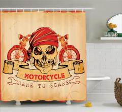 Kuru Kafa ve Motosiklet Desenli Duş Perdesi Kırmızı