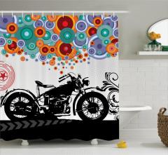 Motosiklet Desenli Duş Perdesi Rengarenk Sanat