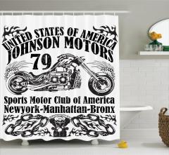 Motosiklet Posteri Etkili Duş Perdesi Siyah Beyaz