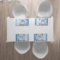 Modern Şık Desenli Amerikan Servis Mavi Beyaz Modern Desenler Şık Tasarım