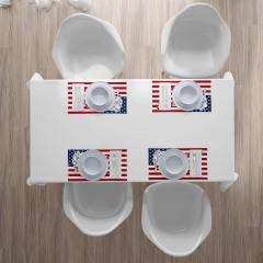 ABD Bayrağı ve Harita Amerikan Servis Dekoratif